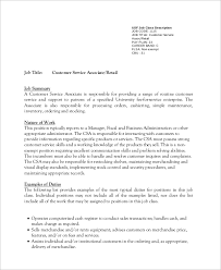 Customer Service Job Description Retail Sample Customer Service Job Description 8 Examples In Pdf