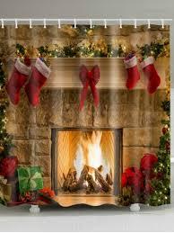fireplace stockings print waterproof fabric shower curtain