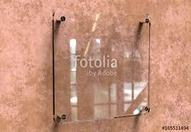 blank transpa glass interior office corporate signage plate mock up office name plate mock up