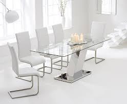 mark harris lamont glass rectangular extending dining set with 6 malibu ivory white chairs 140cm