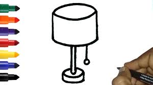 How To Draw Table Lamp Or Night Lamp In Easy Easy Lamp Drawing And Coloring