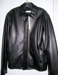 perry ellis men size s black soft leather jacket zip coat top outerwear 430 new