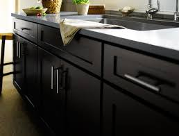 the birch sable finish on these black cabinets complements the gray countertops and provides a simple sleek contemporary look in this kitchen by