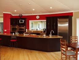 Red Wall Kitchen Cherry Red Wall Behind Rich Espresso Cabinets In A Deltec