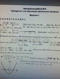 Алгебра Контрольная работа Вариант ГДЗ Тест контроль  Алгебра Контрольная работа 8 Вариант 1