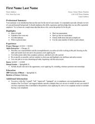 Standard: Resume Template. Create my Resume