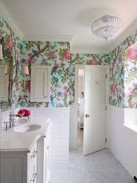 ensuite bathroom designs. Bold Feminine Little Girls Ensuite Bathroom Featuring This Floral Wallpaper By Cole And Son. Interior Design SHOPHOUSE. White Subway Tile Walls Designs