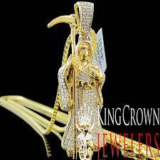 details about genuine diamond grim reaper angel of devil pendant 10k yellow gold finish