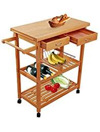 Tenive Pine Wood Dining Trolley Rolling Kitchen Trolley Cart Kitchen  Utility Cart Kitchen Island with Win