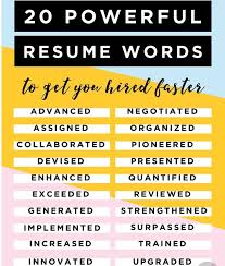Resume Words Magnificent Resume Words To Get You Hired Faster Sarah Collins
