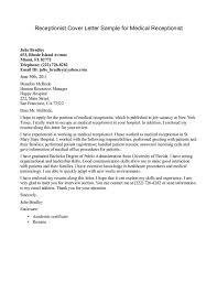 Sample Cover Letter For Resume For Medical Secretary Receptionist