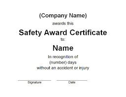 free recognition certificates safety award certificate free word templates customizable
