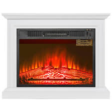 freestanding electric fireplace heater in white with wooden mantel