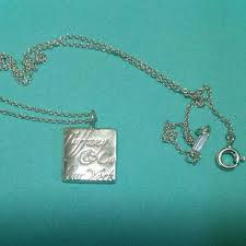 details about tiffany co sterling silver notes square tag charm pendant necklace