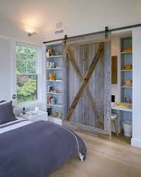 reclaimed barn wood door for the bedroom shelf and office nook