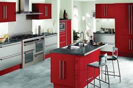Pakistani Kitchen Design With Small Island And Red Cabinet Paint