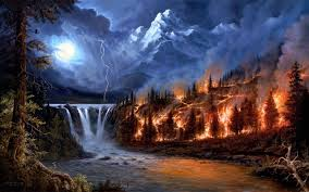 elements nature breeze magnificent painting earth lights moon lightning rocks soil fire splendor water mountains trees waterfall beautiful lovely force