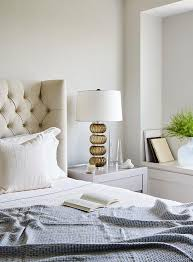 Gray Nightstand with Amber Glass Lamp Transitional Bedroom