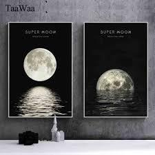 taawaa minimalist moon canvas posters