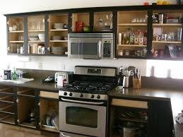 black kitchen cabinets with glass doors photo 10