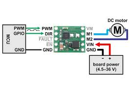 max14870 single brushed dc motor driver carrier minimal wiring diagram for connecting a microcontroller to a max14870 single brushed dc motor driver carrier