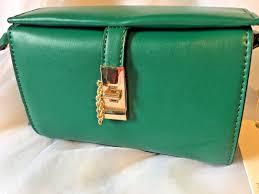 isabelle handbag vegan green leather cross new
