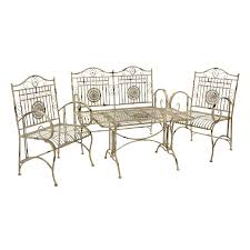 oriental outdoor furniture. Oriental Furniture 4-Piece Wrought Iron Frame Patio Conversation Set Outdoor A