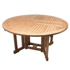 5 teak round drop leaf table