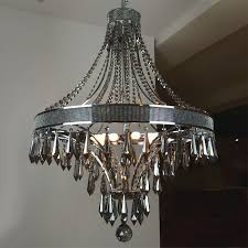 modern smoke crystal and black metal chandelier 9384