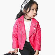 24 58 little j fashion punk style zipper pu leather jackets kids spring autumn jacket girls boys motorcycle outwear coats clothing