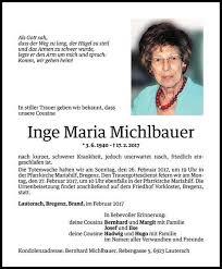 Todesanzeige Für Inge Maria Michlbauer Vom 23022017 Vn