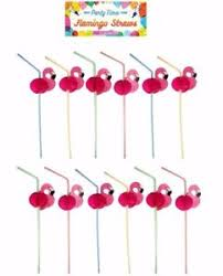 12 24 36 48 Pink Flamingo Cocktail Drinking Straws Hawaiian Party Cocktail Party Decorations Ebay