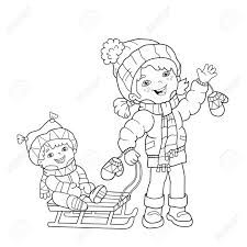 Kleurplaat Overzicht Van Cartoon Meisje Met Broer Sleeën Winter