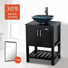 24 vessel sink vanity. Modren Vanity Eclife 24u0027u0027 Modern Bathroom Vessel Sink And Vanity Combo Square Temper  Glass 15 GPM Water Save Faucet Pop Up Drain Espresso  With 24 I