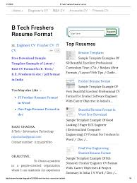 B Tech Freshers Resume Format Resume Java Server Faces