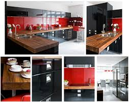 Red And Black Kitchen Red Kitchen Cabinets With Black Appliances Quicuacom