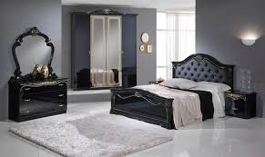 stylish black italian high gloss bedroom furniture set