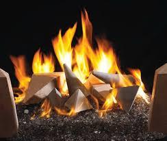 gas fireplace with glass rocks