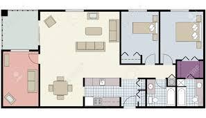 floor plan with furniture. vector of twobedroom floor plan with den and furniture stock 23290291