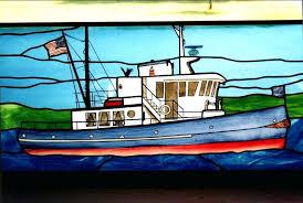 stained glass nautical nature scenes lake tugboat window