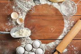 Frame Made Of Flour And Ingredients On Kitchen Table Cooking