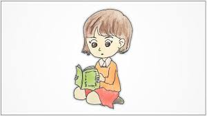 how to draw a sitting and reading a book step by step