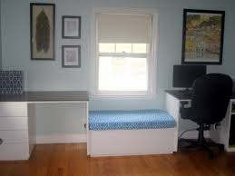 window seat furniture. Luxurious Window Seat In Blue Patterned Between Two Desk And Computer Ideas - Furniture Gallery On Pointerior.com U