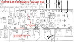 ab763 mods 68 custom deluxe reverb the negative feedback resistor is r64 it is 820 ohms for the 65 and 1 5k for the 68 the circuit board has this part labeled