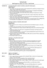 Training Specialist Resume Technical Training Specialist Resume Samples Velvet Jobs