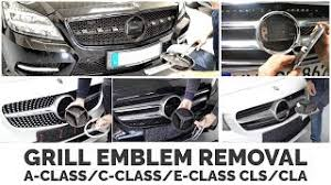 Do not contain the mercedes star emblem in the middle.(use back original mercedes emblem). Mercedes Benz Grill Emblem Removal A Class C Class E Class Cls Cla Youtube