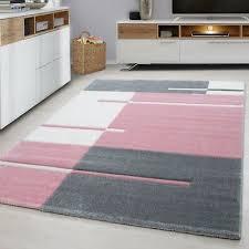 check rug modern pink and grey white geometric contour cut mat room floor carpet