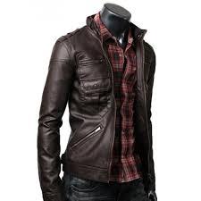 zip pocket dark brown slim ed leather jacket men