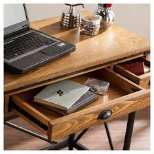 table keyboard. luthier 2 - drawer industrial writing desk with keyboard tray oak aiden lane table