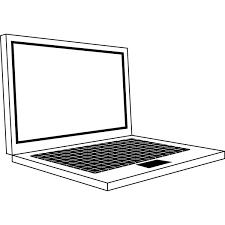 ビジネス ノートパソコンオフィス機器モノクロ 無料イラスト